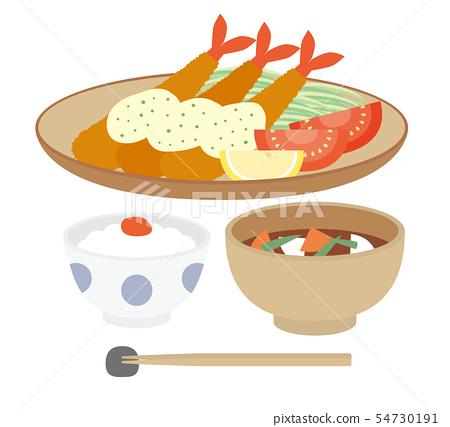 Shrimp fried rice miso soup 54730191