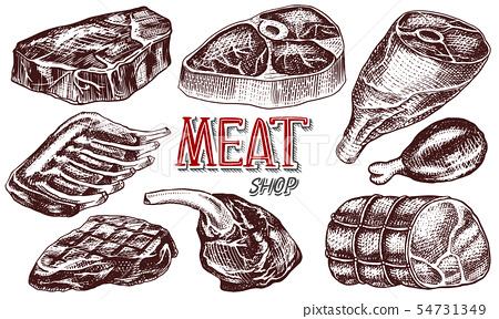 Beef meat, pork steak, chicken leg, meatloaf, bacon and ribs. Barbecue food in vintage style 54731349