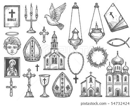 Christian religion church, bible, God icon, cross 54732424