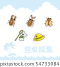 ชุดไอคอนการรวบรวมแมลง [สไตล์ลายมือ] 54733084