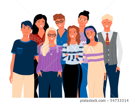 Friends or Relatives, Smiling Man and Woman Vector 54733314