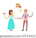 Wedding Couple and Cupid Angel, Bride and Groom 54733425