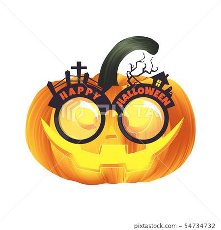 Carved Halloween pumpkin head jack lantern  54734732