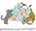 쓰레기를 뒤적 거리다 고양이 54735657