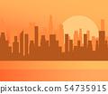 City sunrise. Contour of skyscrapers, panorama 54735915