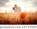 Wedding couple kissing in romantic setting on a wheat field 54735999