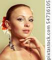 Beautiful woman wearing flamenco dress 54736105