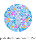 card with raccoon and flowers 54736157