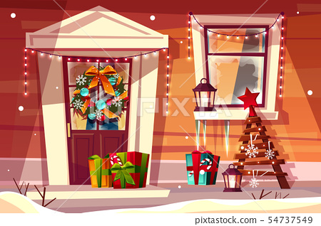 House in Christmas or New Year decorations 54737549