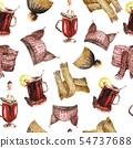Watercolor winter pattern 54737688