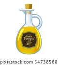 Balsamic vinegar in glass bottle, label bunch of dark grapes.. Vector illustration cartoon flat 54738568