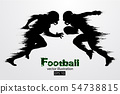 silhouette of a football player. Rugby. American footballer. Vector illustration 54738815