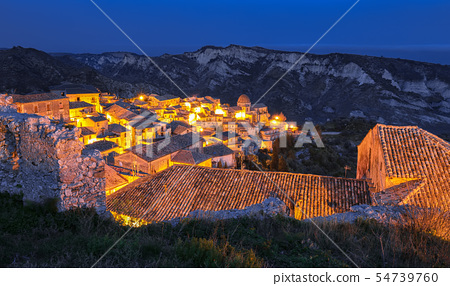 Sunrise over old famous medieval village Stilo in 54739760