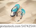 Beach slippers in the desert, sand dunes. 54742544
