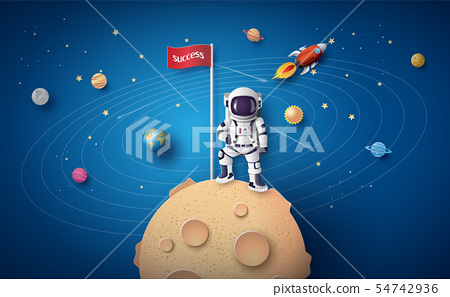 Astronaut with Flag on the moon 54742936