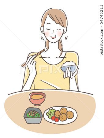 咀嚼和吃得好的女性 54745211