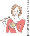 Women who eat rice Millet rice 54745213