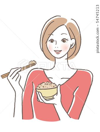 女人們吃米飯米飯 54745213