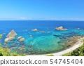 홋카이도 푸른 하늘과 푸른 바다의 시마 타케시 뜻 해안 54745404