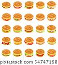 Burger icons set, isometric style 54747198