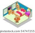Bedchamber concept banner, isometric style 54747255