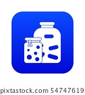 Jars with pickled vegetables and jam icon digital blue 54747619