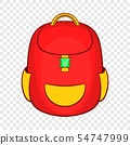 Red backpack icon in cartoon style 54747999