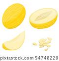 Melon icons set, isometric style 54748229