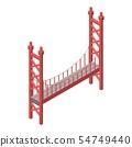 Red bridge icon, isometric style 54749440