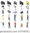 Photographer equipment icons set, isometric style 54749501