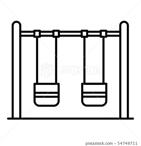 Double kid swing icon, outline style 54749711