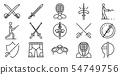 Fencing icons set, outline style 54749756
