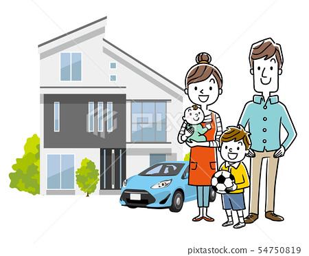 家庭:家庭,房子,汽車 54750819