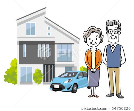 노인 부부 : 집, 주택, 주택, 자동차 54750820