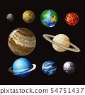 Solar system cartoon vector set 54751437