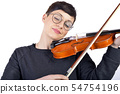 A young woman playing her violin with expression 54754196