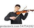 cheerful woman playing violin 54754202