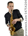 young man playing the saxophone 54754204