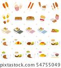 길거리 음식과 일본의 인기 메뉴 세트 54755049