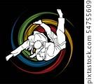 Judo action cartoon graphic vector 54755609