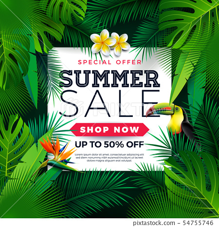 Summer Sale Design with Toucan Bird, Tropical Palm Leaves and Flower on Green Background. Vector 54755746