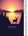 wildlife adventure elk in the wilderness by the lake at sunset 54756645