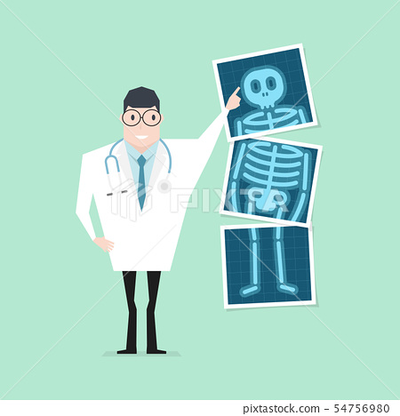 Doctor pointing x-ray film. Health check up. 54756980
