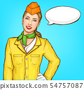 Smiling air hostess pop art vector portrait 54757087