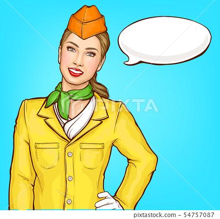 Smiling air hostess pop art vector portrait 54757087