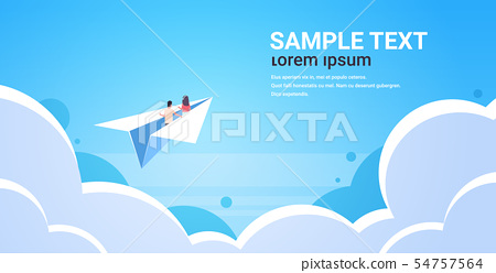 couple in love flying on paper airplane man woman lovers traveling together romantic concept blue 54757564