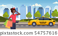 woman with colorful paper bags ordering taxi young african american girl holding purchases big sale 54757616