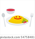 Omelette with smile (with tomato soup) 54758481