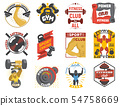 Fitness logo gym sports club of power lifting and bodybuilding logotype with bodybuilder or 54758669