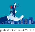 Businessman with wind up key. Concept business 54758911